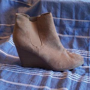 Merona faux suede wedge booties